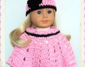 Handmade Doll Clothes Made For American Girl, Pink-Black Crochet Poncho Set, 18 Inch Doll Clothes