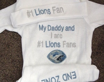 Personalized Detroit Lions Football Baby Infant Newborn Creeper Hat Set