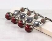 Maroon Earrings Dark Red Earrings Bridal Jewelry Garnet Wedding Gray Pearl Earrings Gray Bridal Jewelry Bridesmaid Gift Red Wedding Burgundy