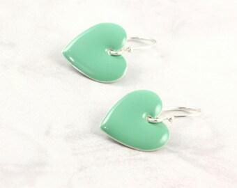 Green Heart Earrings, Valentine Jewelry, Mint Green, Minimalist Jewelry, Sterling Silver Ear Wires