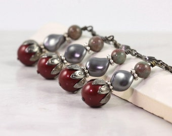Maroon Earrings Burgundy Wedding Dark Red Earrings Bridal Jewelry Garnet Wedding Gray Pearl Earrings Gray Bridal Jewelry Bridesmaid Gift
