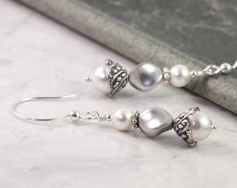White Pearl Earrings Gray Pearl Jewelry Romantic Bridal Collection Sterling Silver Winter Fashion Mothers Day Jewelry