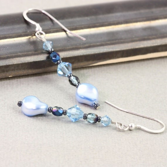 Aquamarine Earrings Blue Pearl Crystal Sterling Silver Ear Wires Mothers Day Jewelry