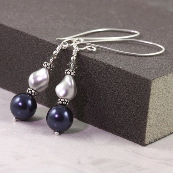 Pearl Earrings Midnight Blue Gray Navy Fancy Sterling Silver Ear Wires Mothers Day Jewelry