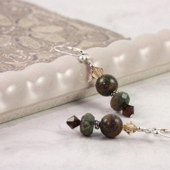 Green Opal Earrings, Brown and Green, Woodland Jewelry, Winter Fashion, Forest Green, Gemstone Earrings, Sterling Silver