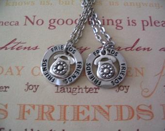 Best Friends Long Distance Friendship Necklace Set Circle of Love Telephone Charm