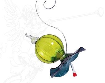 Blown Glass Hummingbird Feeder Aqua Lagoon and Lime Free Shipping