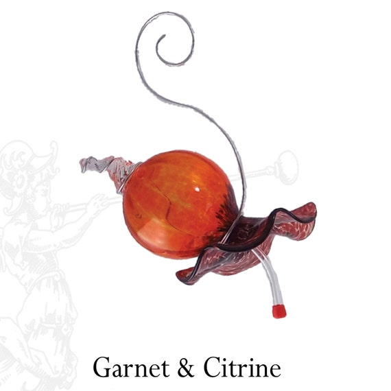 Blown Glass Hummingbird Feeder Red and Orange Free Shipping