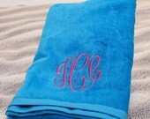 Personalized Beach Towel Embroidered with Name or Monogram