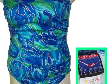 70s Jantzen strapless swimsuit sarong gathers large