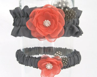 Wedding Garter Coral Gray, Flower Garter Set H221, Bridal garter accessories