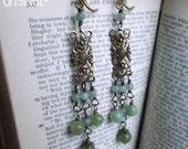 Earrings - Elizabethan Earrings - Tudor Earrings - Jade Earrings - Jade Filigree Earrings - Elizabethan Jewelry