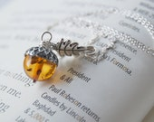 Silver and Amber Acorn Necklace