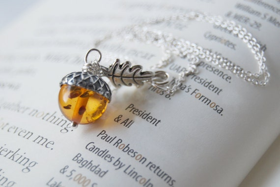 Silver and Amber Acorn Necklace   Orange Acorn Charm Necklace   Lucite Amber Acorn Necklace   Woodland Acorn   Silver Nature Jewelry