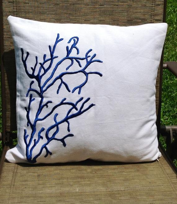 Coastal Color Throw Pillows : Items similar to Coral decorative pillows, White pillows-Coral Decorative Pillow, Coastal ...