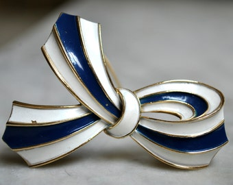 Crown Trifari Blue, White and Gold Bow Brooch - SALE