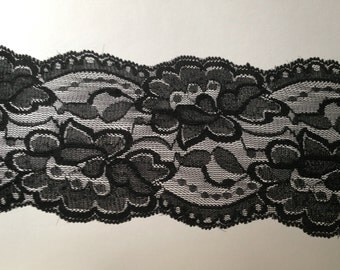 NEW-WIDE Stretch Lace BLACK  -3.5 inch -2 yards for 4.19