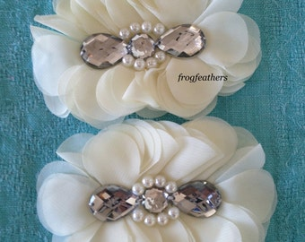 FLOWERS-TEARDROP Rhinestone and Pearl Center IVORY set of 2-4.5 x 3.5 inches wide