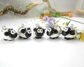 Cute Sheep Stitch Markers (Set of 5) polymer clay knit knitting stitch markers sheep charms animal