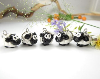 Sheep Stitch Markers , Set of 5, polymer clay knit knitting marker charms, animal stitch markers, knitting stitch markers, sheep