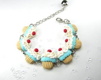 Blue Cupcake Bracelet- Food jewelry, food bracelet, cupcake jewelry, cupcake bracelet, food gift for her, polymer clay cute miniature food