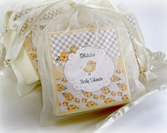 Shabby Chic Baby Shower Favors, Baby shower favors, Yellow and Gray Shower Favors