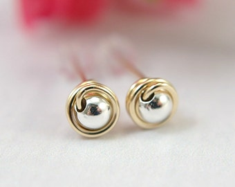 Tiny 14k gold filled and 925 sterling silver post earrings wire wrapped mini stud earrings small mixed metal earrings second piercings 5mm