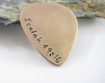 Bronze Guitar Pick, Customized, Hand Stamped - Personalized