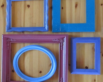 AQUARIUS assorted picture frames--  instant collection--  5 frames total (blues, violets, purples)