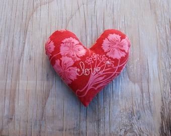 SALE -Love Heart Pink Red Vintage French Ticking Lavender Sachet