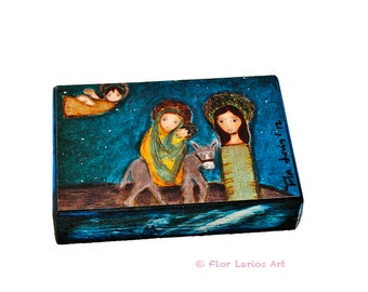 The Flight into Egypt -  Giclee print mounted on Wood (4 x 5 inches) Folk Art  by FLOR LARIOS