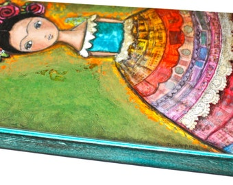 Frida -  Giclee print mounted on Wood (5 x 10 inches) Folk Art  by FLOR LARIOS