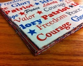 DESTASH. Patriotic red white and blue charm squares