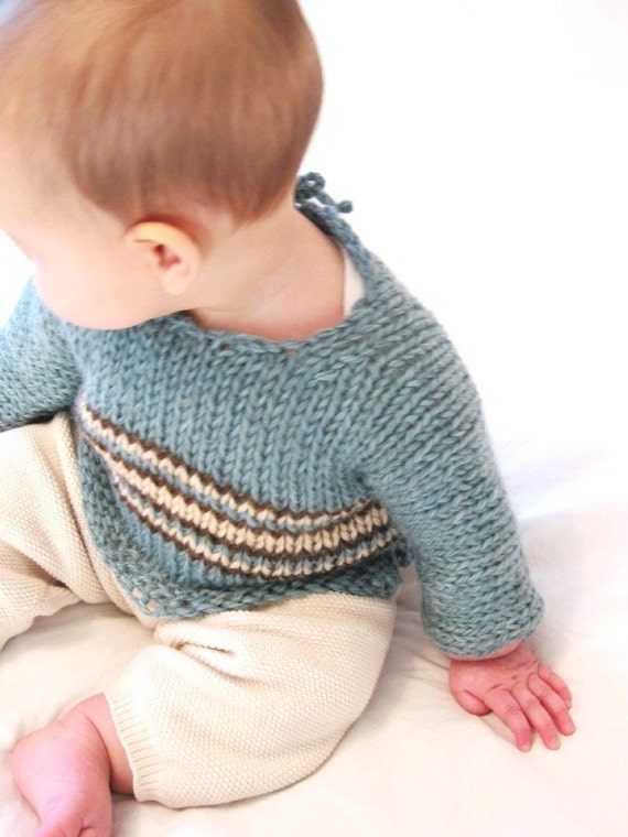 Knitting Pattern For Childs Chunky Cardigan : Items similar to baby sweater pattern: chunky one-piece knit infant pullover,...