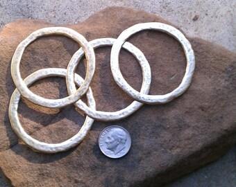 1 Jumbo Gold Hammered Pewter Hoop