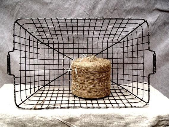 Vintage Industrial Primitive Two Handle Wire Basket