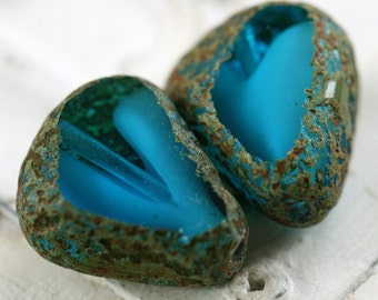 CAPRI SLABS .. 2 Picasso Czech Glass Chunky Beads 19x16mm (3271-2)