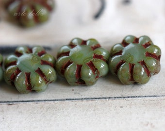 PRETTY POSIES .. 10 Picasso Czech Glass Flower Beads 9mm (3406-10)