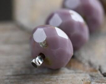 sale .. BLUEBERRY YOGURT .. 10 Picasso Czech Glass Beads 6x8mm (3338-10)