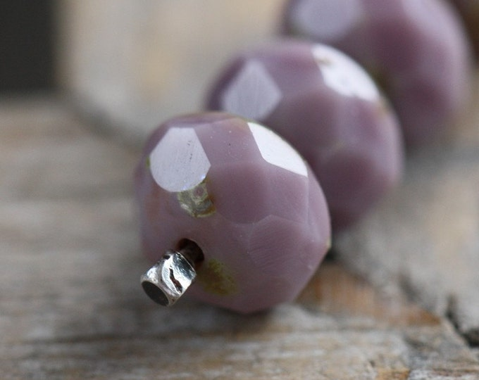sale .. BLUEBERRY YOGURT .. 10 Picasso Czech Glass Beads 6x8mm (3338-10)