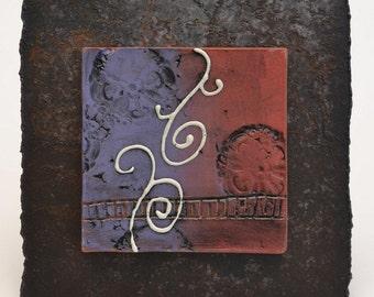 SALE - Ceramic Tile Wall Plaque (red and purple) - Meagan Chaney Gumpert (08-21)