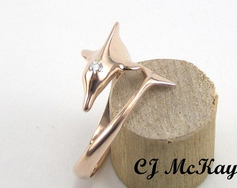 Rose Gold Dolphin Ring With a Diamond CR30R