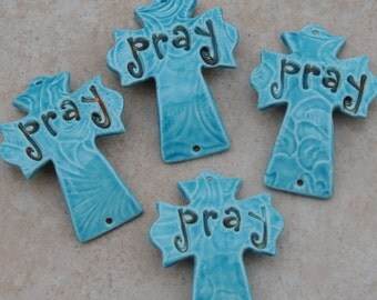 """Pottery Cross Cuff Bead in Turquoise with the word """"Pray"""""""