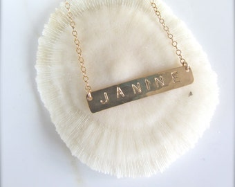 Personalized Gold Bar Necklace - Block Font