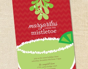 Sweet Wishes Margaritas under the Mistletoe Christmas Cocktail Party Invitations - PRINTED - Digital File Also Available