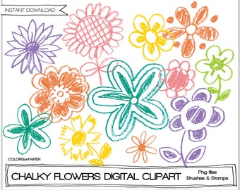 Chalky Flowers Digital Clipart, Brushes & Stamps. Instant Download. Hand Drawn.  Personal and Limited Commercial Use.