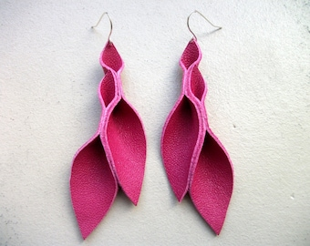 Petal Collection: Hot Pink Leather Petal Earrings