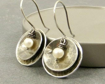 Sterling Silver Disc Earrings,  Pearl Earrings, Wire Wrapped Jewelry, Eco Friendly Jewelry Gifts for Her