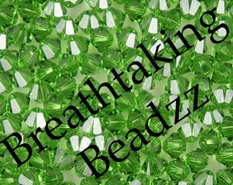 Swarovski Beads Crystal Bead 50 Fern Green 4mm Bicone 5328 Many Colors In Stock