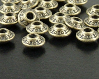 Bead Spacer 100 Antique Bronze Bicone Saucer 6mm x 4mm NF (1112spa06z1)